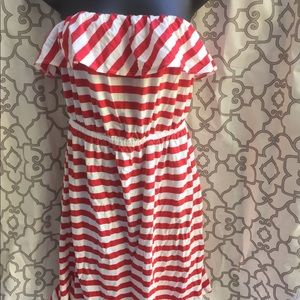 Old Navy Strapless dress Red white Stripe July 4th